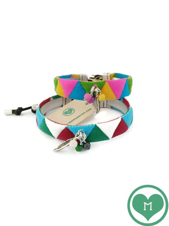 Fabric Bracelets, Colorful Bracelets, Bracelet with feather, Harlequin ribbon bracelet
