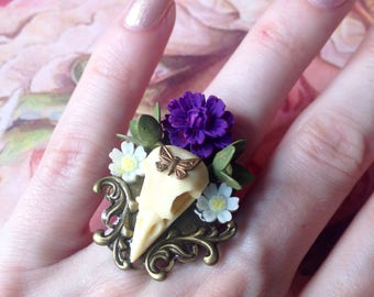 Adjustable ring skull bird and purple flower