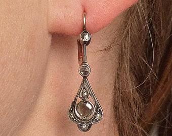 Edwardian 14K-Yellow - 10K-White Gold Rose Diamond Earrings c1915