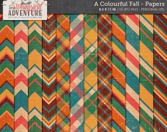 Fall Scrapbook Paper, Printable Letter Size Papers, Colorful Backgrounds, Chevron, Plaid, Stripes, Instant Download, Digital Scrapbooking