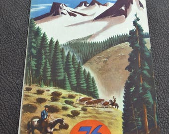1950s Montana Idaho Road Map Vintage Road Map Gas Station Road Map