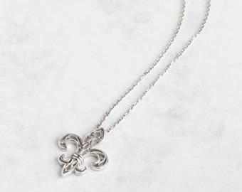 Silver Filigree Necklace-Fleur de Lis pendant- Elegant necklace     Jewelry for special events, Jewels for Woman, medieval symbol /FL0421