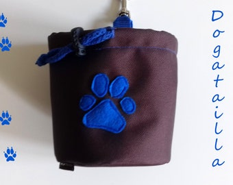 Brown dog treat pouch with a paw motif