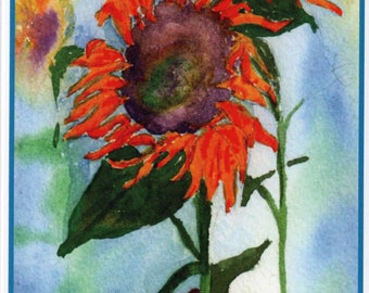 Four-Pack Watercolor Sunflower Note Cards.  All-Occasion Blank Inside.  Original Flower Cards by StellaJaneCards