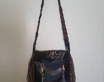Beautiful NEW Custom Made Brown and Blue Fringed Leather Purse Bag w FREE BRACELET by Stella Silver Horse with Clay Beads & Mother of Pearl