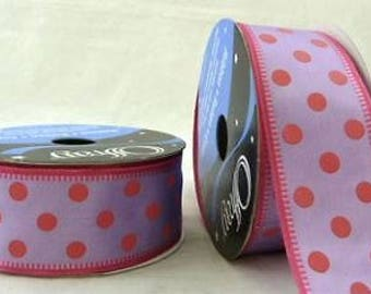 Beautiful Offray Lavender with Pink Polka Dots 1 inch by 22 yds Wired Ribbon