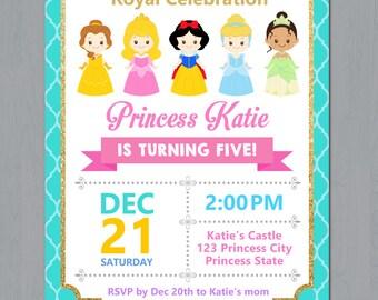 Disney Princess Invitation, Disney Princess Birthday Invitation, Disney Princess 1st Birthday Invitation, Princess Invitation