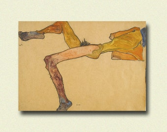 Egon Schiele Print - Reclining Male - Schiele Art Print Schiele Poster Art Reproduction Gift Idea