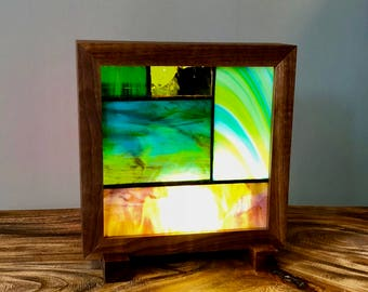 Walnut and Stained Glass Case Light