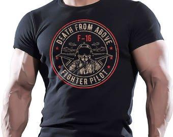 Death From Above. Fighter Pilot. Men's black cotton T-shirt.