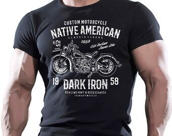 Motorcycle. Native American. Men's black cotton T-shirt.