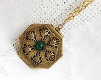 Embellised Memory Locket Retro Victorian Antiqued Gold Tone Finish Green Glass Center Cabochon