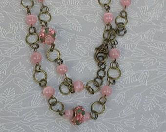 Long Beaded Pink Chain Necklace, Pink Jewelry, Charleston, Pink Boho Necklace, Australian Made, gift for Her, Pink Chain Necklace, 20s Style