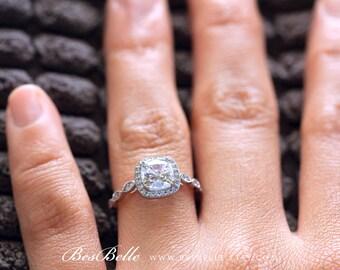 2.08 ct.tw Art Deco Ring-Halo Engagement Ring-Cushion Cut Diamond Simulant-Bridal Ring-Wedding Ring-Solid Sterling Silver [6153-1]
