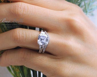 3.32 ct.tw Bridal Set Ring-Asscher Cut Main Engagement Ring W/ Curve Half Eternity Wedding Ring-Anniversary Ring-Sterling Silver [61769-2B]