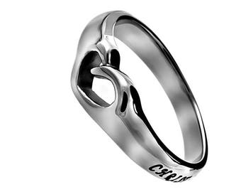 "Mini Heart Ring ""Christ Lives In Me"""