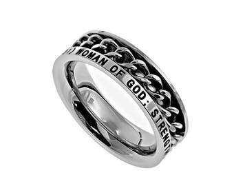 """Chain Ring """"Woman Of God"""""""