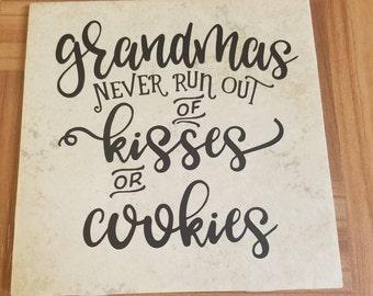 Grandmas never run out of kisses or cookies pot holder, grandma shirt, grandma apron, grandma wall decoration, grandma decal,Grandparent day