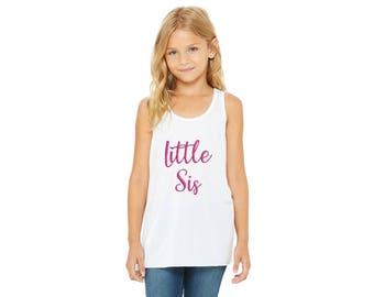 Little Sis Tank Top-Girls Flowy Racerback Tank Top-Kids Tanks-Cute Girls Top-Little Sis