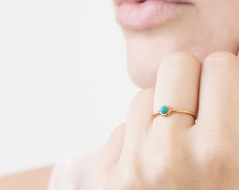 Turquoise Gold Ring - Tiny Turquoise Ring - Blue Gemstone Ring - Natural Stone Ring - December Birthstone Ring - Minimal Stacking Ring