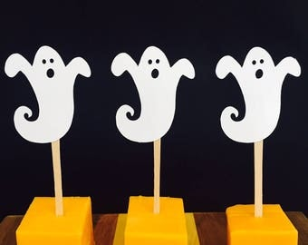 15 Ghost Appetizer Picks - Party - Happy Halloween - Food Picks - Party Picks - Scary Halloween Party Decor - Orange - Black - Ghost