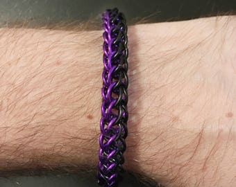 "1/4"" Black Purple Chainmail Metal Bracelet - Nickel Free Metal - Persian Weave - Men Women Unisex - Punk Emo Goth Alt - Chainmaille Jewellry"