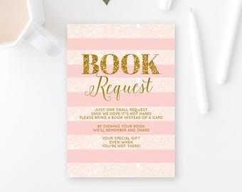 Book Request Girl Baby Shower Insert Bring A Book Instead Of A Card Books For Baby Pink And Gold Baby Shower Card PRINTABLE Digital JPEG PDF