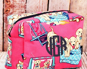 Dog Days of Summer Cosmetic Case/ Makeup Bag/ Travel Bag/ Gift for Teen/ Teen Girl Gifts/ Teen Gift
