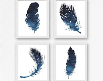 Set Of 4 Art Prints - Watercolor Feather Boy / Girls Nursery/ Office/ Bedroom Wall Art -Minimalist Prints -Dark Blue - Feather Decor -Poster