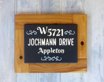 Home address sign - Housewarming gift - Personalised sign - Street name - House numbers - Hand painted - Cypress pine - Family home plaque
