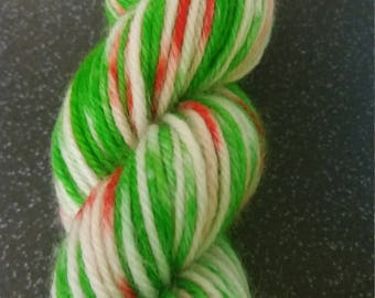 Santa's grotto. Dk Christmas yarn. 50g superwash hand dyed wool