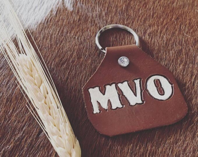 Ear Tag Keychain, Cow Tag Keychain, Leather Tag Keyring, Rancher Keychain, Cattle Tag Keychain, Cow Keychain, Show Mom Keychain, Livestock