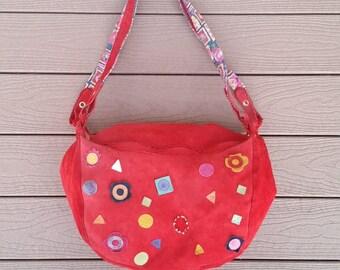 Bruno Amaranti Vintage Red Suede Leather Shoulder Bag Handabag. Good Vintage Condition
