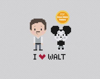 Walt Disney Cross stitch Pattern -  PDF file Instant Download - Mickey Mouse - I Love Walt - Walt and Mickey - Disney Crosstitch Pattern