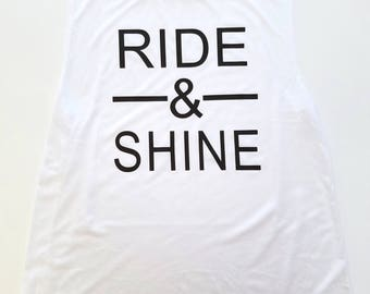 Ride And Shine Muscle Tank Top, Spin Cycle Tank, Spinning Shirt, Cycling Top, Rise and Shine, Custom Tank Top, Workout Muscle Tank, Gym Tee