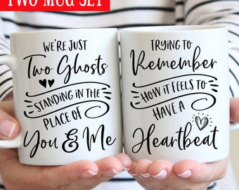 Two Ghosts Coffee Mug Set - Harry Styles Two Ghosts Standing in the Place of You and Me - Remember How It Feels to Have a Heartbeat