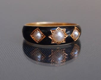 1893 Victorian Mourning Enamel Pearl 18ct Yellow Gold Ring