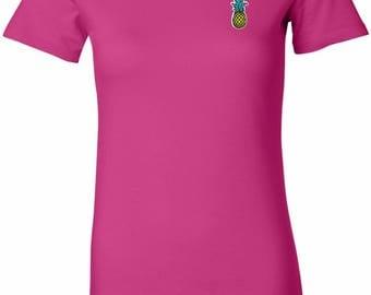 Ladies Pineapple Patch Pocket Print Longer Length Tee T-Shirt PINEPATCH-PP-6004