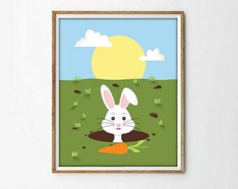 animal nursery print, nursery decor, nursery print, rabbit print, nursery rabbit print, printable kids, kids room decor, kids print, 4 SIZES