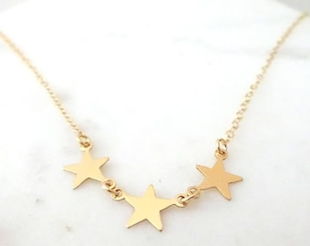 Star Necklace, Three Star Necklace, Silver Star Necklace, BFF necklace, Gold star necklace, Delicate star jewelry