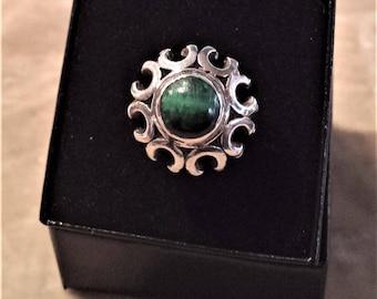 Sterling Silver, Green Cats Eye Ring