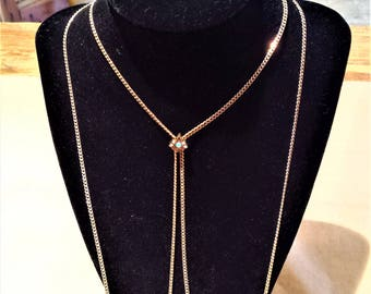 Victorian, Gold Filled Chain Necklace with Opal and Faux Pearl