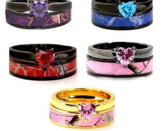 Customizable Heart Camo Wedding Ring Set Heart Rings Titanium Stainless  Steel FREE Engraving