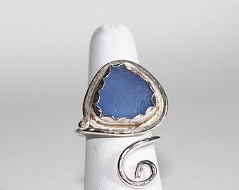 Sea glass jewelry - sea glass ring - cornflower ocean glass ring - bohemian statement ring - beach ring - beach glass ring - seaglass ring