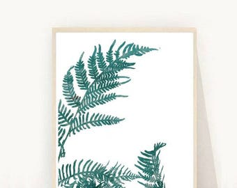 Fern Print, Botanical Print, Printable Fern Leaf, Leaf Print,  Printable Art, Instant Download, Modern Wall Art, Home Decor, Wall Decor