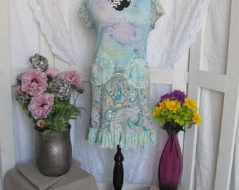 Light Blue Upcycled T-Shirt Dress