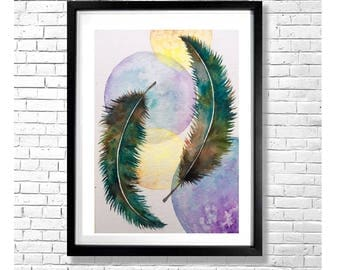I'LL FLY AWAY #1 - Teal Green Blue Purple Yellow Brown Gray Bohemian Abstract Feathers Watercolor Art Print Poster Wall Decor