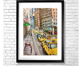 Kitties in Big Cities NY - Cat Watercolor and Ink Art Print New York Illustration Funny Wall Decor Kids Room