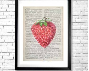 S FOR STRAWBERRIES - Vintage Style Fruit Berry Illustration Red Watercolor Art Print on Old Book Page Background