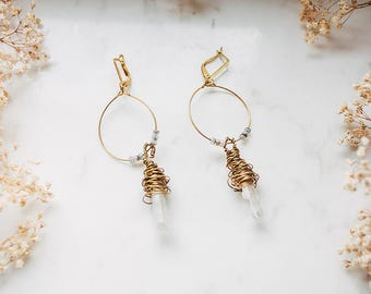 Light Quartz Hoop Earrings